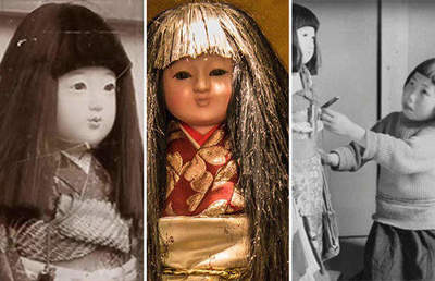 Okiku Japanese doll, which actually grow hair