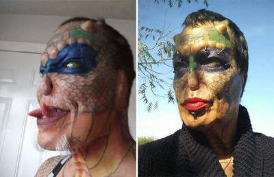 The woman had plastic surgery to look like a reptile