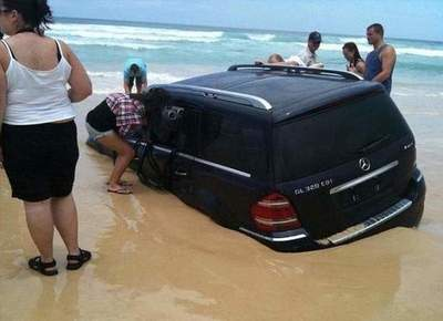 The owner parked his Mercedes on the coast