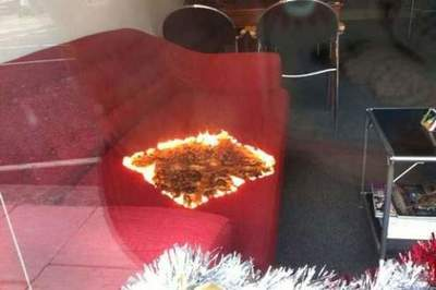 Mysterious fire sofa in a shop window